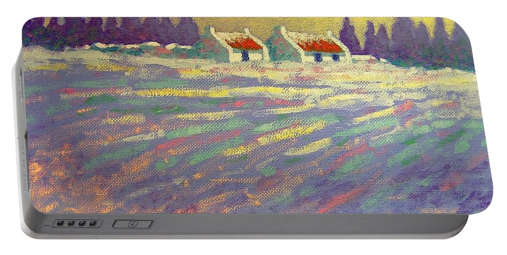 Ireland Portable Battery Charger featuring the painting Snow Scape County Wicklow by John Nolan