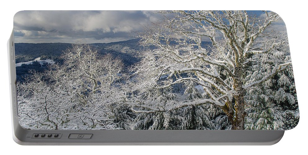Clouds Portable Battery Charger featuring the photograph Snow Scene At Berry Summit by Greg Nyquist