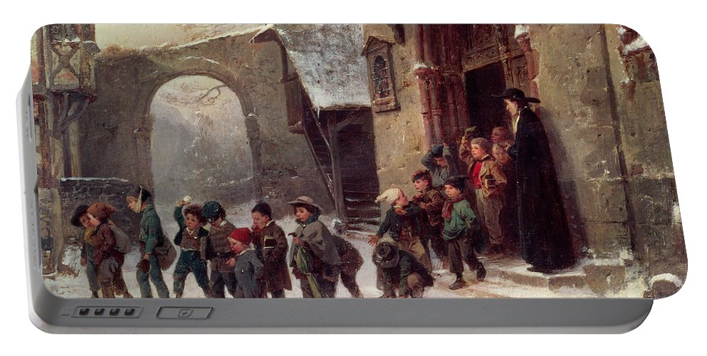 Victorian Portable Battery Charger featuring the painting Snow Scene Children Leaving School by Marc Louis Benjamin Vautier