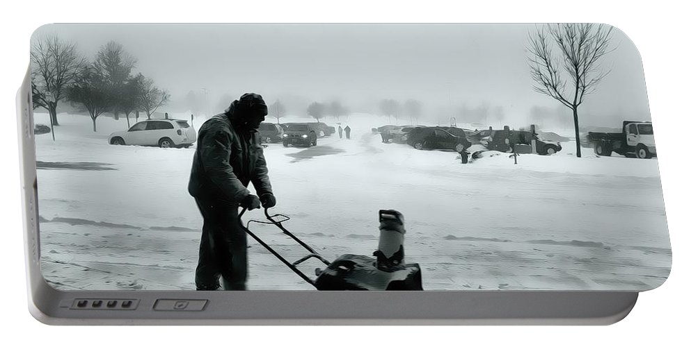Snow Blower Portable Battery Charger featuring the photograph Snow Storm Minneapolis by Amanda Stadther