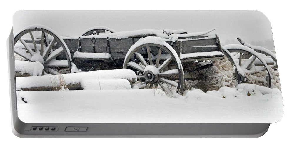 Old Wagon Portable Battery Charger featuring the photograph Snow Wagon  #0171 by J L Woody Wooden