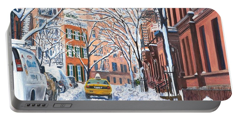 Snow Portable Battery Charger featuring the painting Snow West Village New York City by Anthony Butera