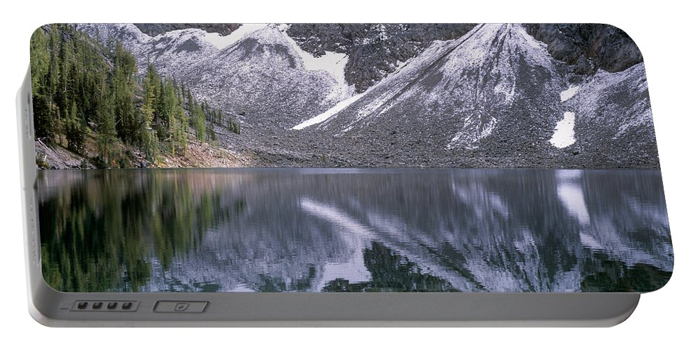 North Cascades Portable Battery Charger featuring the photograph Snowfield Reflection On Blue Lake by Tracy Knauer