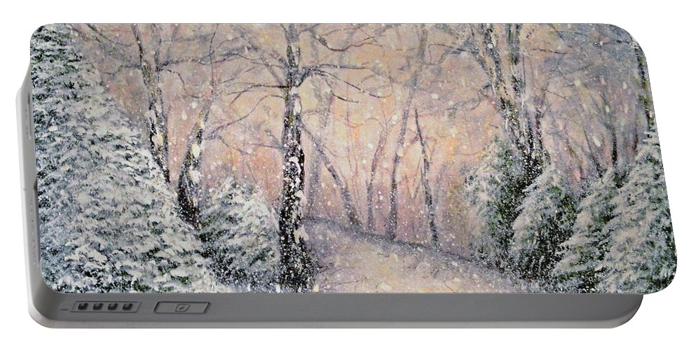Snow Landscape Portable Battery Charger featuring the painting Snowflakes by Natalie Holland