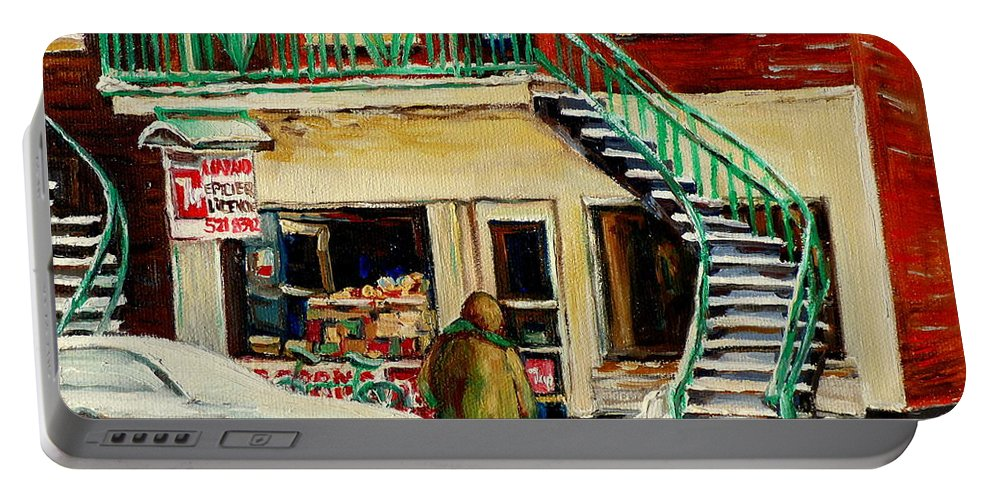 Montreal Portable Battery Charger featuring the painting Snowing At The Five And Dime by Carole Spandau