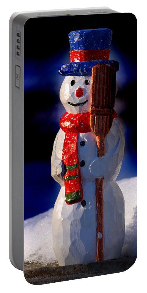 Snowman Portable Battery Charger featuring the sculpture Snowman By George Wood by Karen Adams