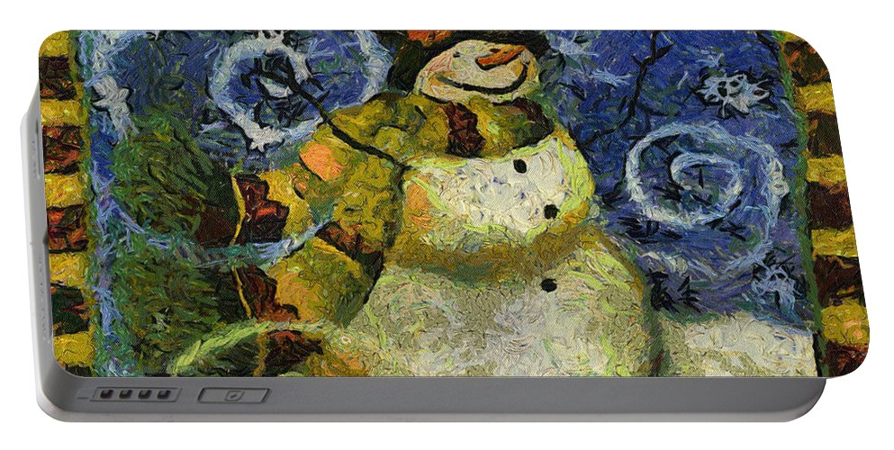 Winter Portable Battery Charger featuring the photograph Snowman Photo Art 17 by Thomas Woolworth
