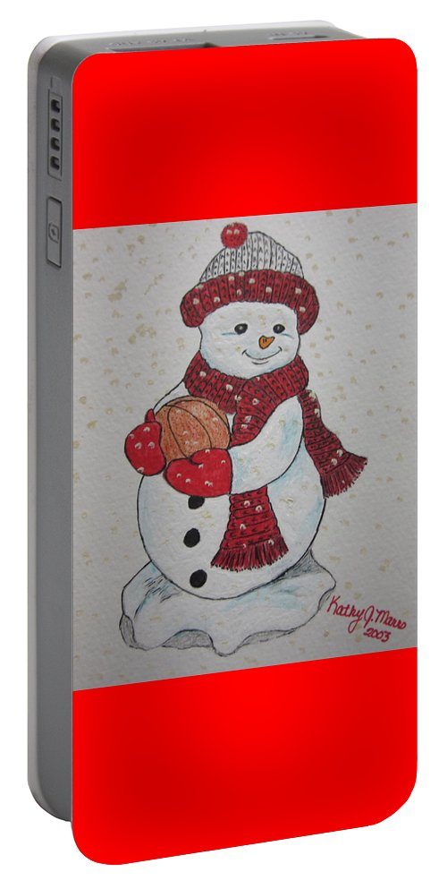 Snowman Portable Battery Charger featuring the painting Snowman Playing Basketball by Kathy Marrs Chandler