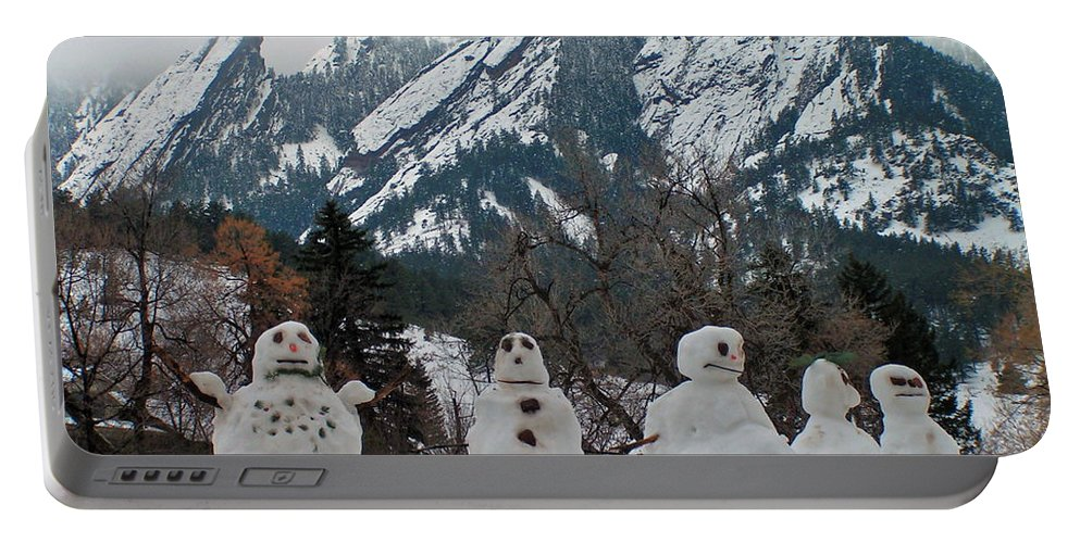 Snowman Winter Snow Nature Flatirons Boulder Colorado Rocky Mountains Nature Chautauqua Portable Battery Charger featuring the photograph Flatiron Snowmen. by George Tuffy