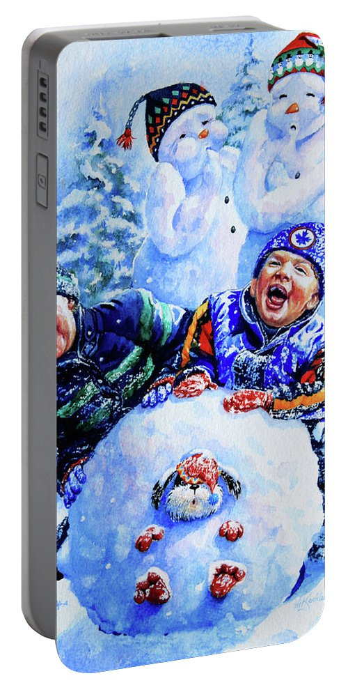 Snowman Print Portable Battery Charger featuring the painting Snowmen by Hanne Lore Koehler