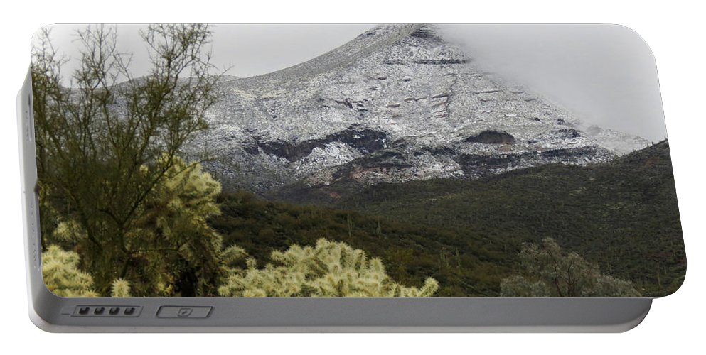 Desert Portable Battery Charger featuring the photograph Snowy Desert Mountain 1 by Laurel Powell