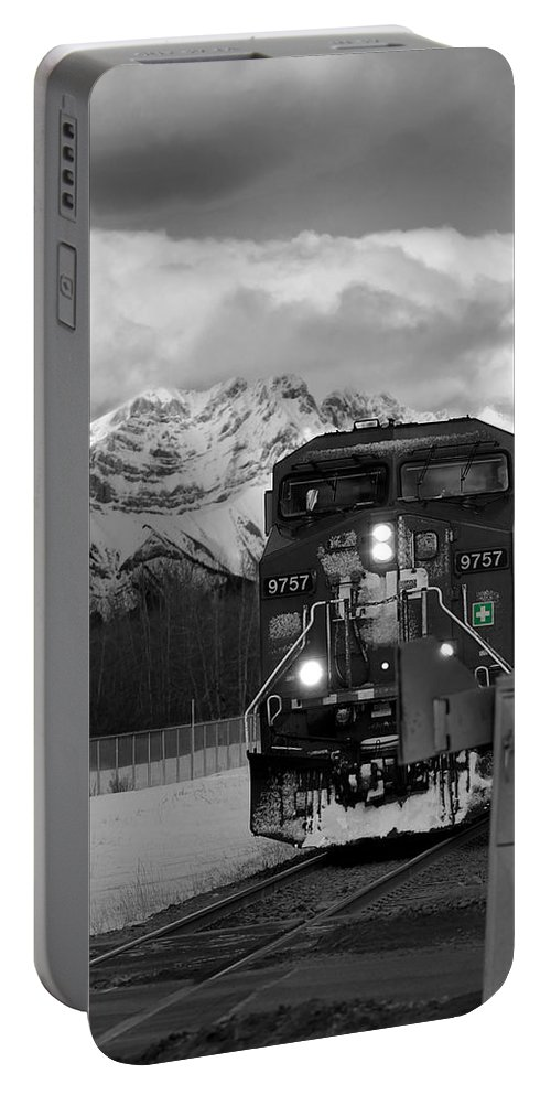 Rocky Mountains Portable Battery Charger featuring the photograph Snowy Engine Through The Rockies by Lisa Knechtel