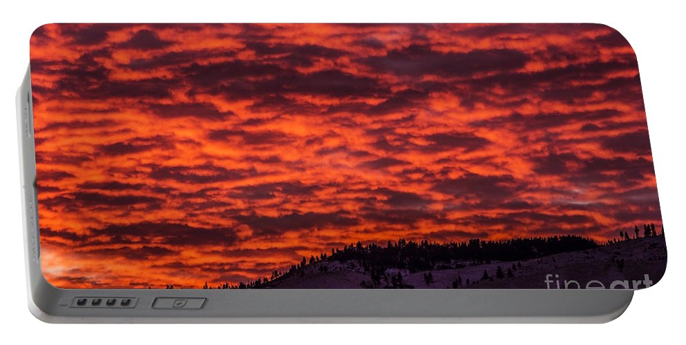 Snow Portable Battery Charger featuring the photograph Snowy Mountain Sunset by Andrea Goodrich