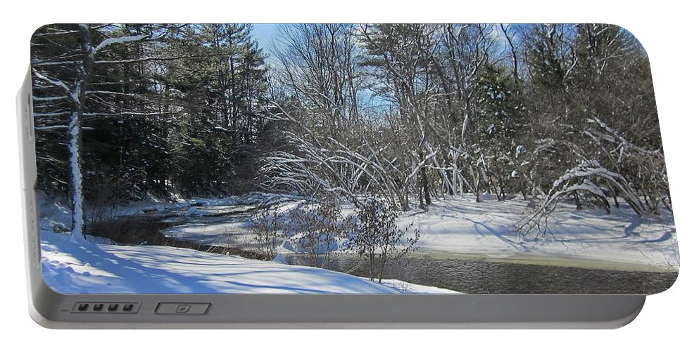River Portable Battery Charger featuring the photograph Snowy Otter Brook by MTBobbins Photography