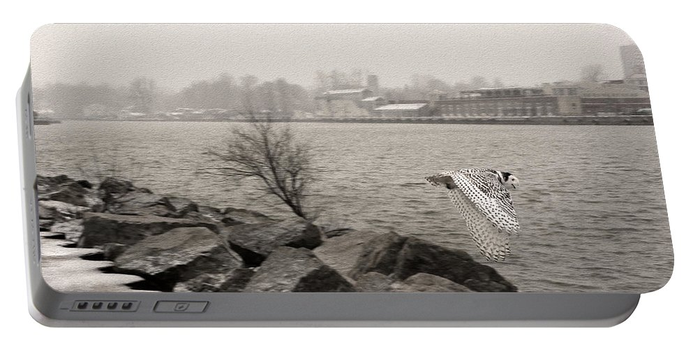 Snowy Owl Portable Battery Charger featuring the photograph Snowy Owl In Motion by Tracy Winter