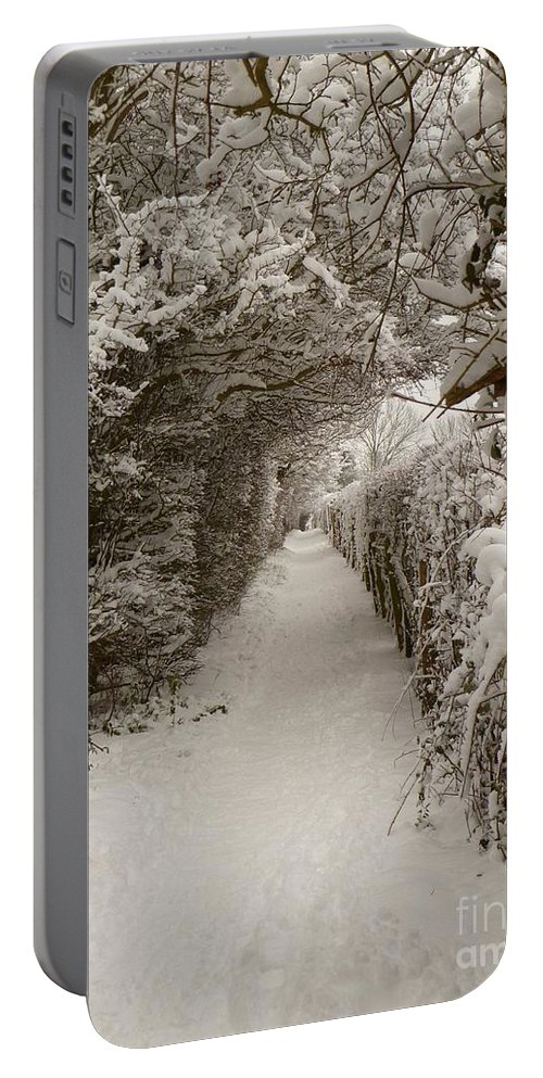 Snow Portable Battery Charger featuring the photograph Snowy Path by Vicki Spindler