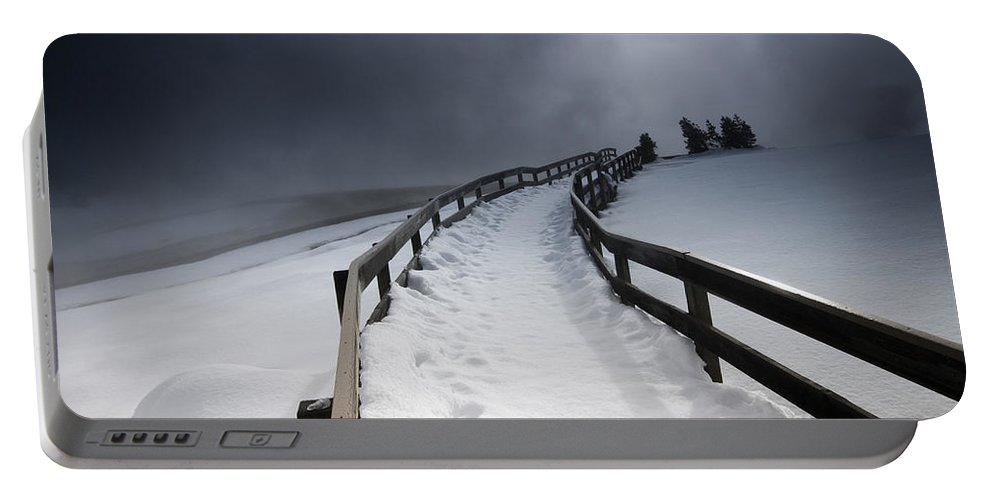 Winter Portable Battery Charger featuring the photograph Snowy Pathway by David Lichtneker