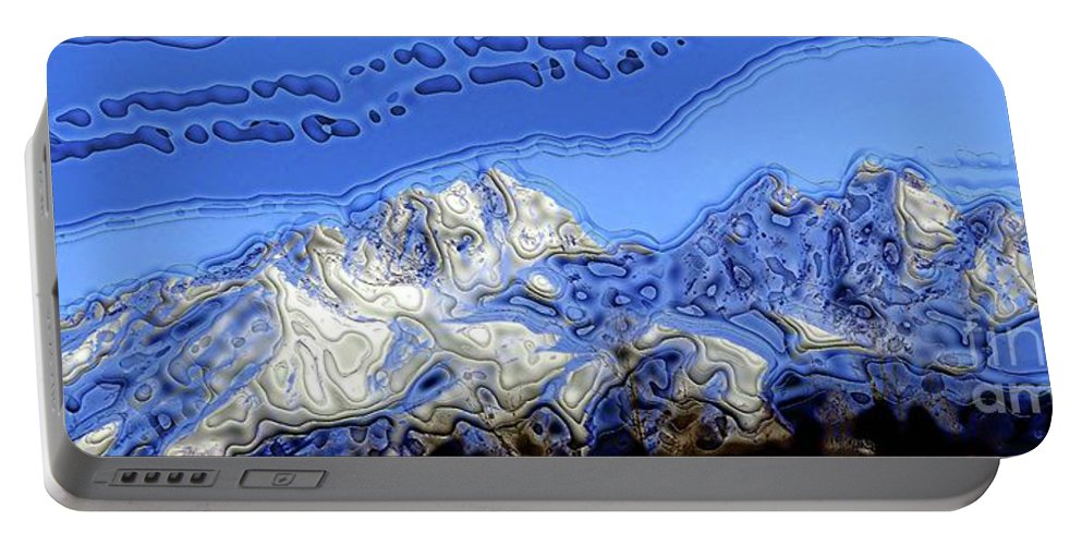 Snow Pack Portable Battery Charger featuring the digital art Snowy Peaks by Ron Bissett