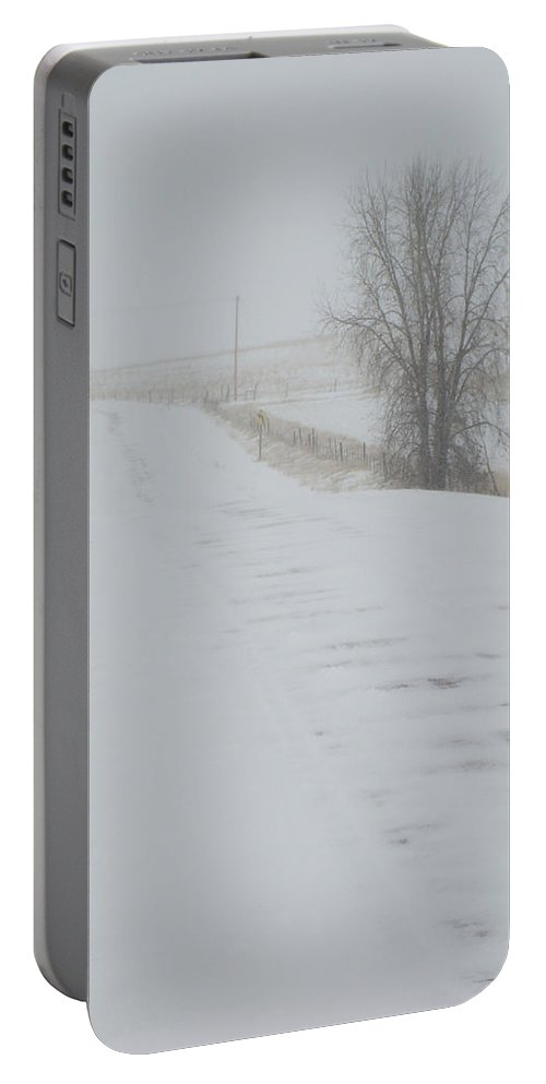 Snow Portable Battery Charger featuring the photograph Snowy Road by Cathy Anderson