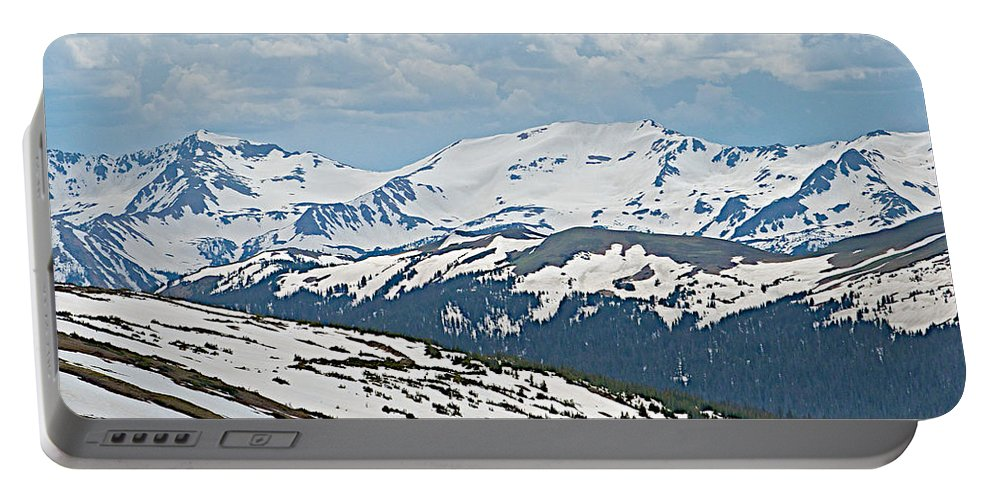 Snowy Terrain Near Top Of Trail Ridge Road In Rocky Mountain Np Portable Battery Charger featuring the photograph Snowy Terrain Near Top Of Trail Ridge Road In Rocky Mountain Np-co  by Ruth Hager