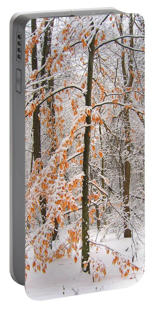 Winter Portable Battery Charger featuring the photograph Snowy Woods by Ann Horn