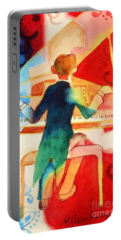 Abstract Portable Battery Charger featuring the painting So Grand by Marilyn Jacobson