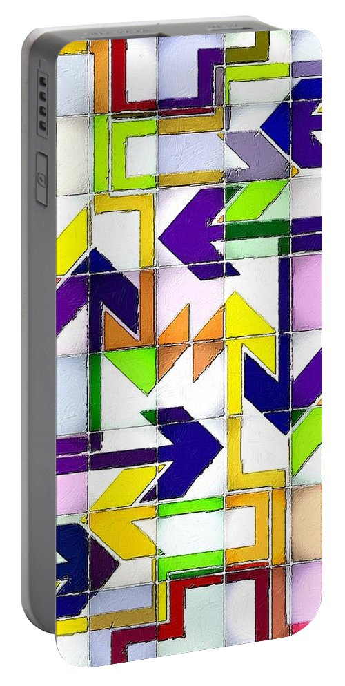 Abstract Portable Battery Charger featuring the painting So Many Choices So Little Time by Florian Rodarte