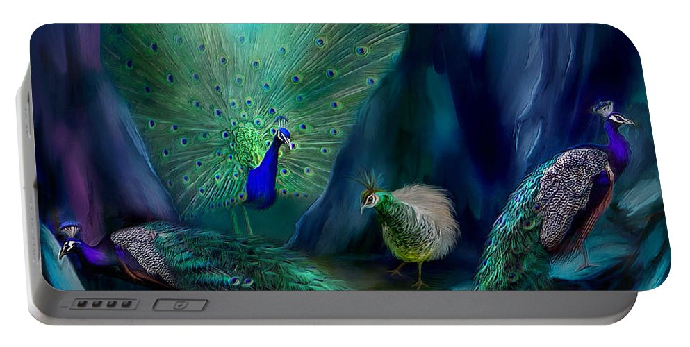 Peacock Portable Battery Charger featuring the mixed media So Many Peacocks by Carol Cavalaris