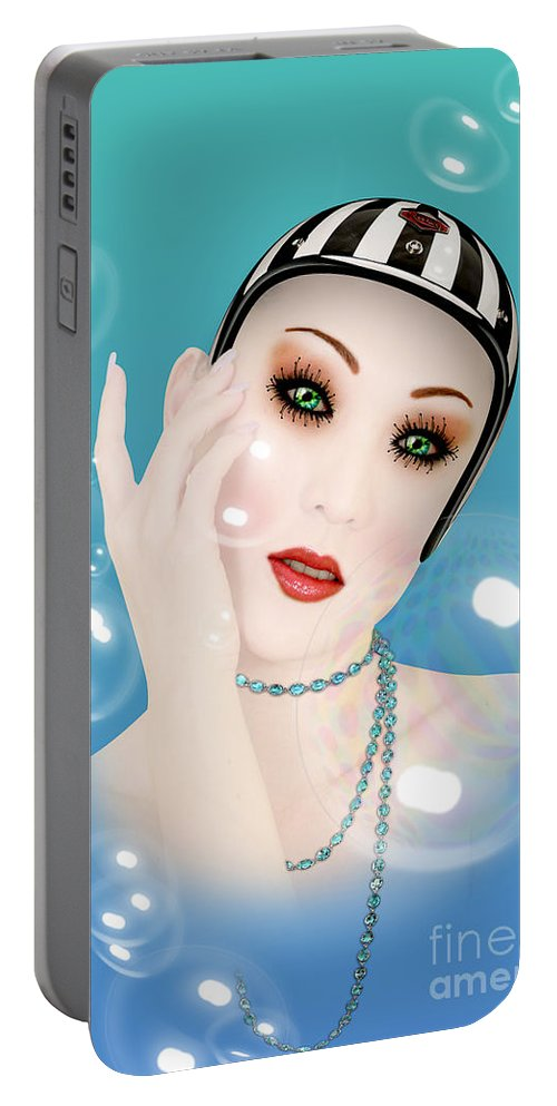 Soap Bubble Portable Battery Charger featuring the digital art Soap Bubble Woman by Mark Ashkenazi
