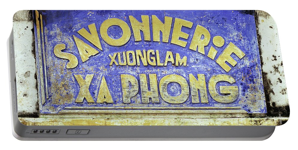 Weathered Portable Battery Charger featuring the photograph Soap Factory Sign by Rick Piper Photography
