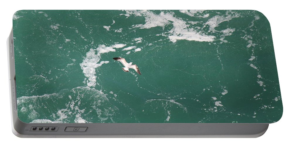 Seagulls Portable Battery Charger featuring the photograph Soaring Over The Falls Waters Too by Jennifer E Doll