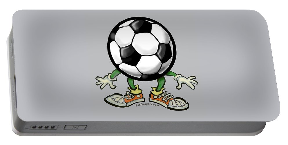 Soccer Portable Battery Charger featuring the digital art Soccer by Kevin Middleton