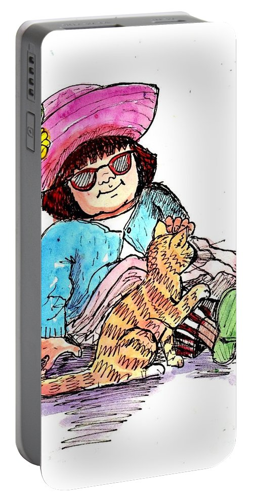 Red Haired Girl Portable Battery Charger featuring the drawing Sofie And Mittens by Marilyn Smith