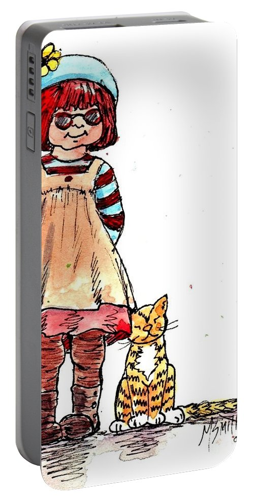 Red Haired Girl Portable Battery Charger featuring the drawing Sofie by Marilyn Smith