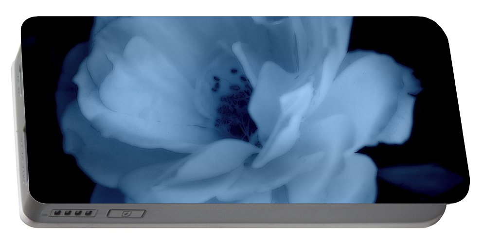 Rose Portable Battery Charger featuring the photograph Soft Blue Perfection by Kathy Sampson