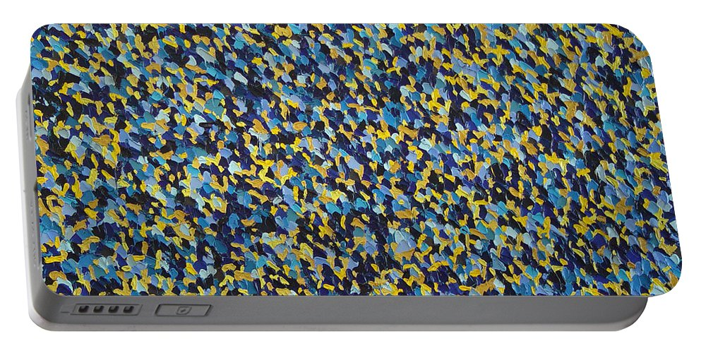 Abstract Portable Battery Charger featuring the painting Soft Blue With Yellow by Dean Triolo