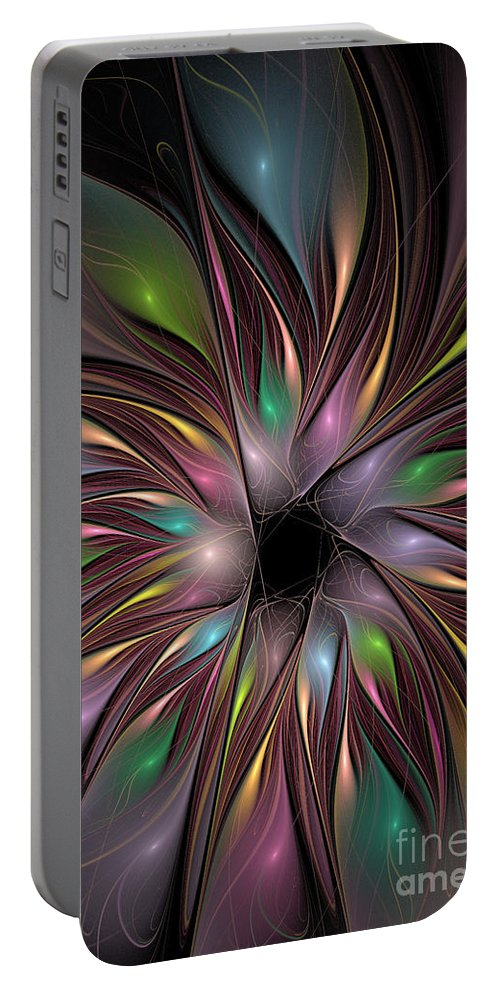 Fractal Portable Battery Charger featuring the digital art Soft Colors Of The Rainbow by Deborah Benoit
