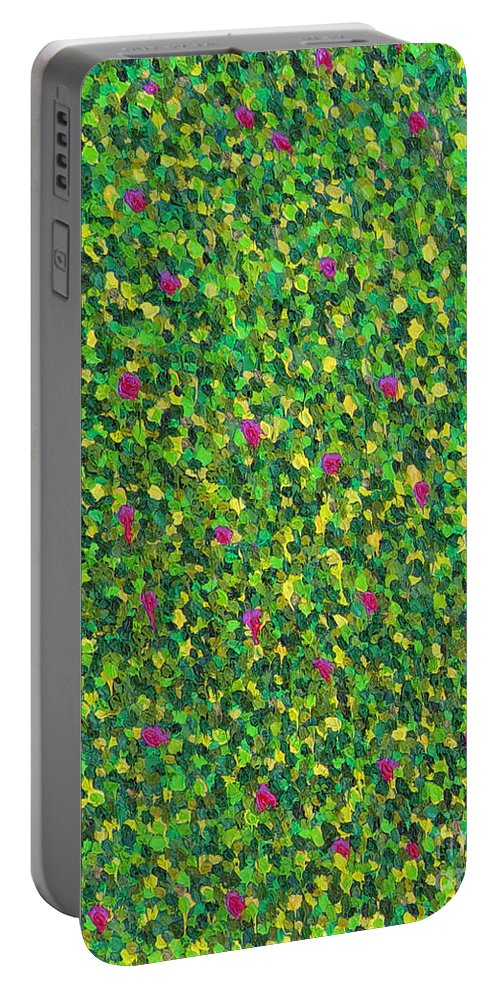 Abstract Portable Battery Charger featuring the painting Soft Green With Pink by Dean Triolo