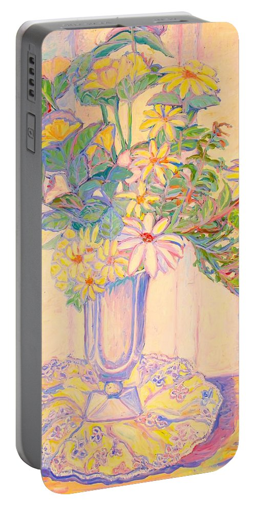 Flowers Portable Battery Charger featuring the painting Soft Light by Kendall Kessler