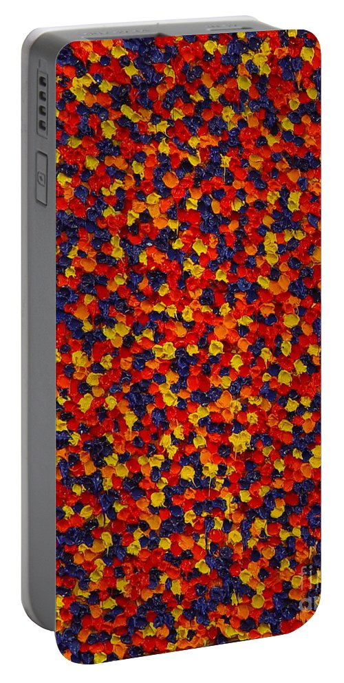 Abstract Portable Battery Charger featuring the painting Soft Primary by Dean Triolo