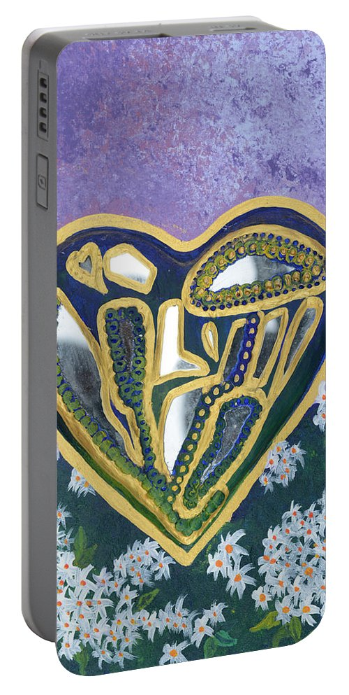 Softened Heart Portable Battery Charger featuring the painting Softened Heart Best Reflections Energy Collection by Catt Kyriacou