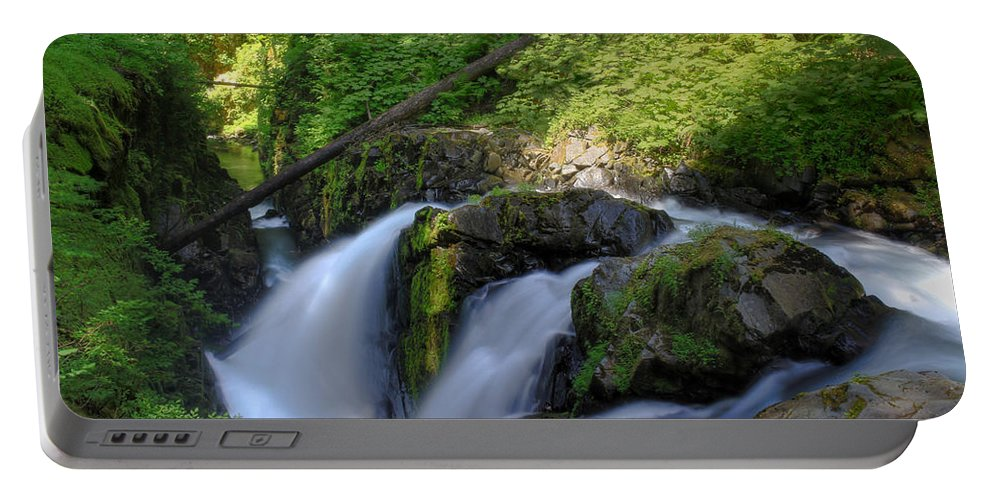 Waterfall Portable Battery Charger featuring the photograph Sol Duc Falls by John Absher