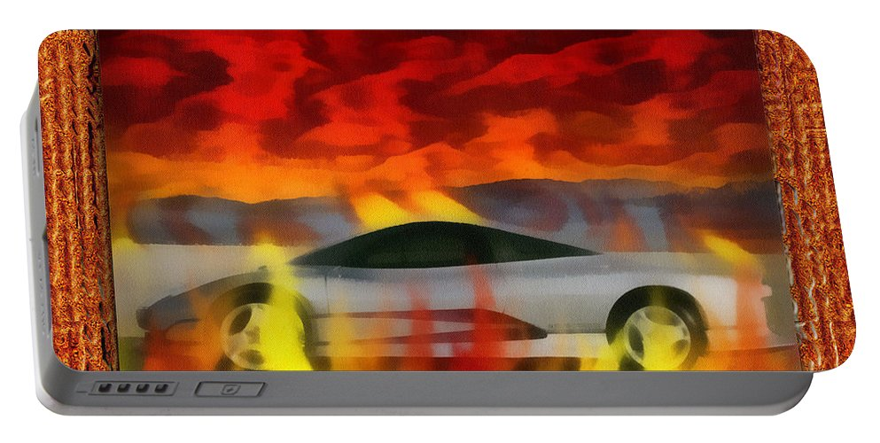 Photo Art Portable Battery Charger featuring the digital art Solace Among Flames by Mario Carini