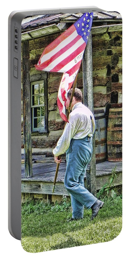 Soldier Portable Battery Charger featuring the photograph Soldier At Bedford Village Pa by Kathy Churchman