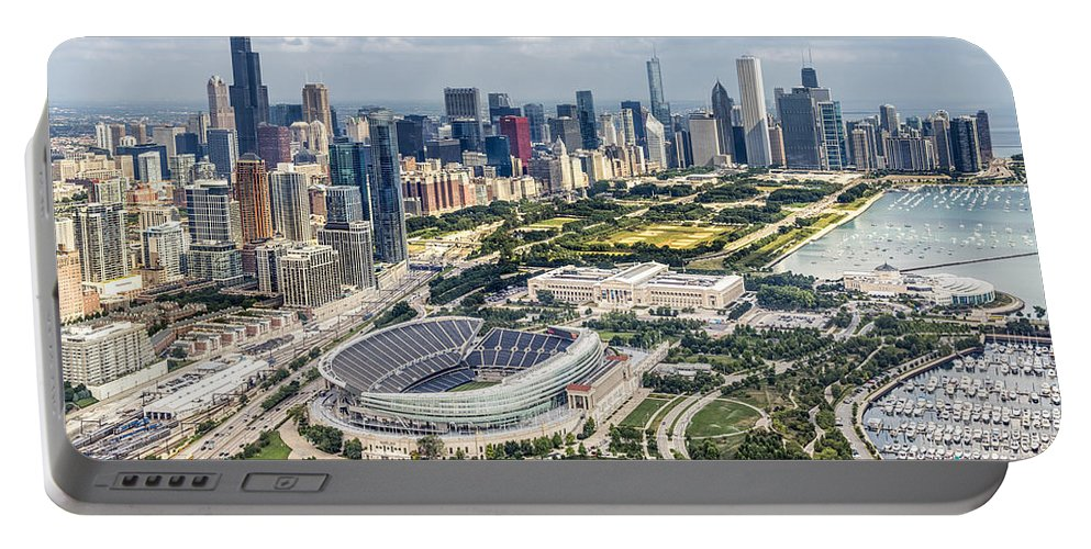 3scape Portable Battery Charger featuring the photograph Soldier Field And Chicago Skyline by Adam Romanowicz