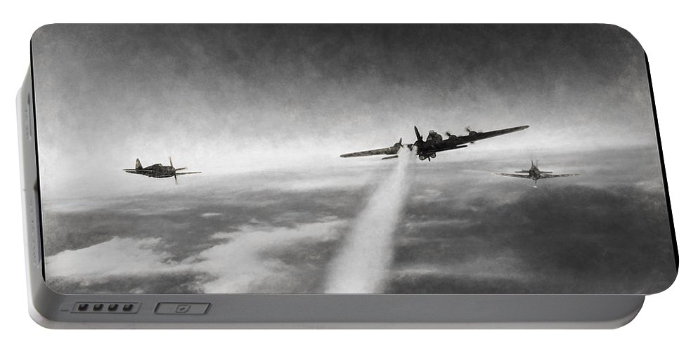 Boeing B-17g Flying Fortress Portable Battery Charger featuring the digital art Wounded Warrior - Charcoal by Tommy Anderson
