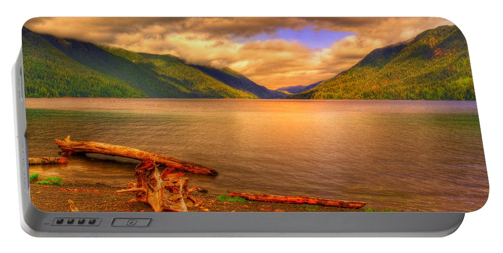 Lake Portable Battery Charger featuring the photograph Solitude On Crescent Lake by John Absher