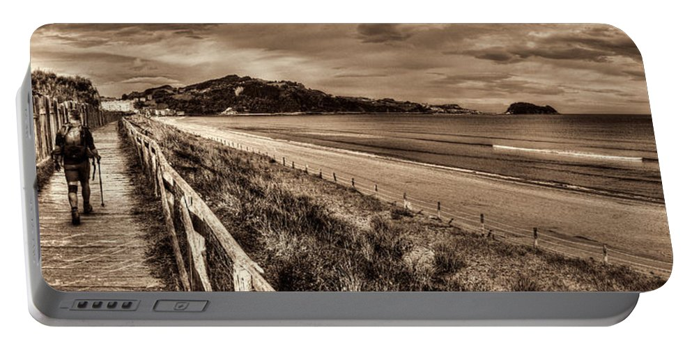 Coast Portable Battery Charger featuring the photograph Solitude Sepia by Weston Westmoreland