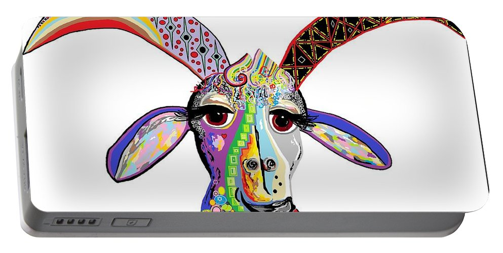 Goat Portable Battery Charger featuring the painting Somebody Got Your Goat? by Eloise Schneider Mote