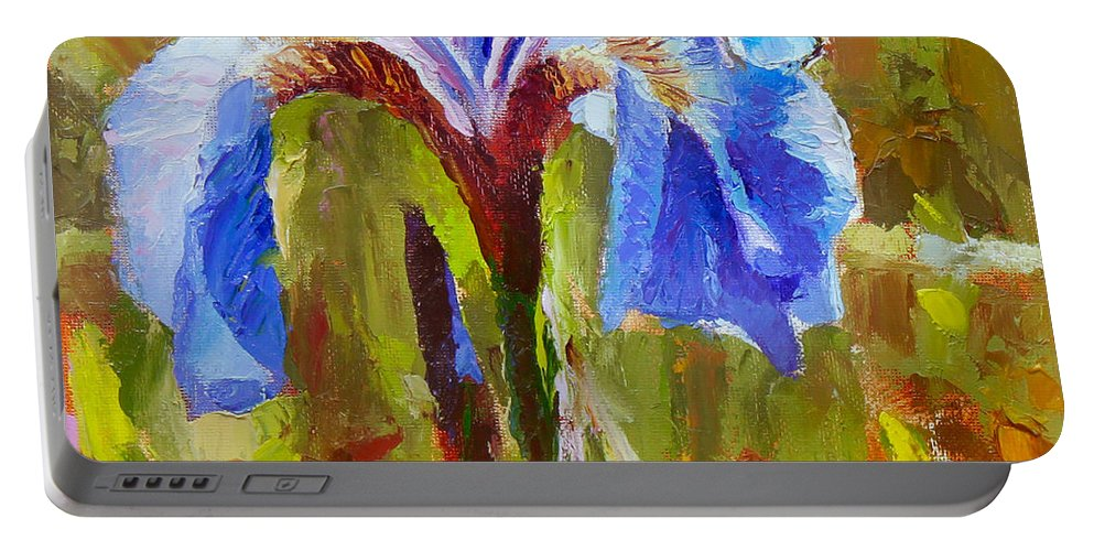 Iris Portable Battery Charger featuring the painting Alaskan Wild Iris And Blue Butterfly Flower Painting by Karen Whitworth